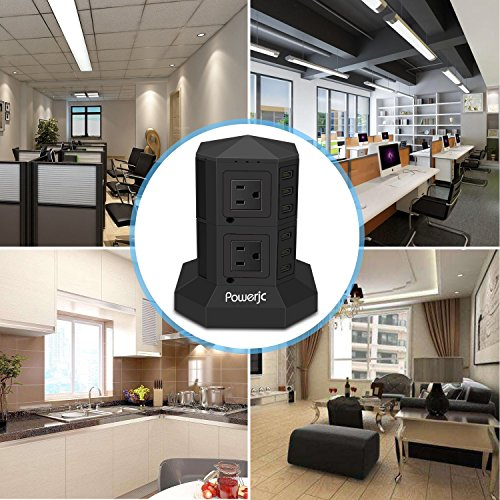 Tower Power Strip Surge Protector 8 AC Outlets with 6 Usb ports Chargers Black-Powerjc by Powerjc (Image #2)