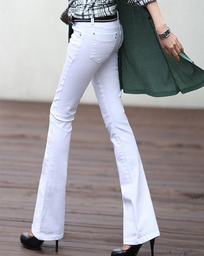 5a1e2c73c32 ZongSen Femme Bootcut Pantalon Taille Basse Vintage Large Ample Stretch  Jeans  Amazon.fr  Vêtements et accessoires