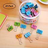 Small Colored Paper Binder Clips, Coideal 19mm Assorted Metal Foldback Clips Clamp with Cute Lovely Hollow Smiling Face for Office Home, Art Crafts, Photo Pictures (40 Pack)