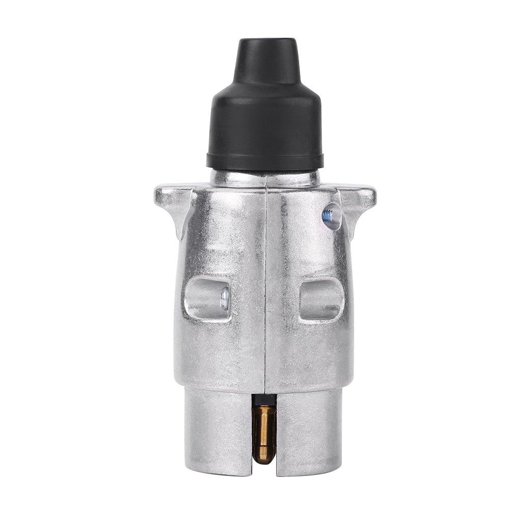 Qiilu 12V 7 Pin Alluminio Trailer Plug Presa Connettore Adattatore Rimorchi e Giunti di Collegamento Rimorchi