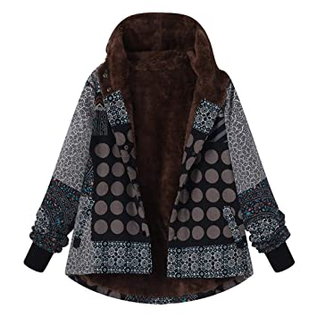Amazon.com : Fenleo Womens Plus Size Winter Warm Sherpa Vintage Lined Zip up Hooded Sweatshirt Jacket Coat : Sports & Outdoors