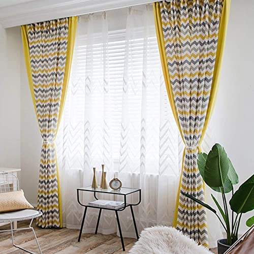 Geometric Wave Blackout Curtain Linen Window Curtain Kids Boys Room Darkening Window Panel Drapes Set