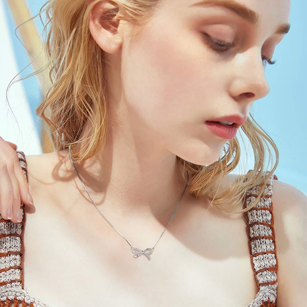 F.ZENI Kette Damen 925 Sterling Silber Halsketten 5A Funkeln Zirkonia Unendlichkeit Halsketten Anh/änger mit Geschenkbox f/ür Geburtstags
