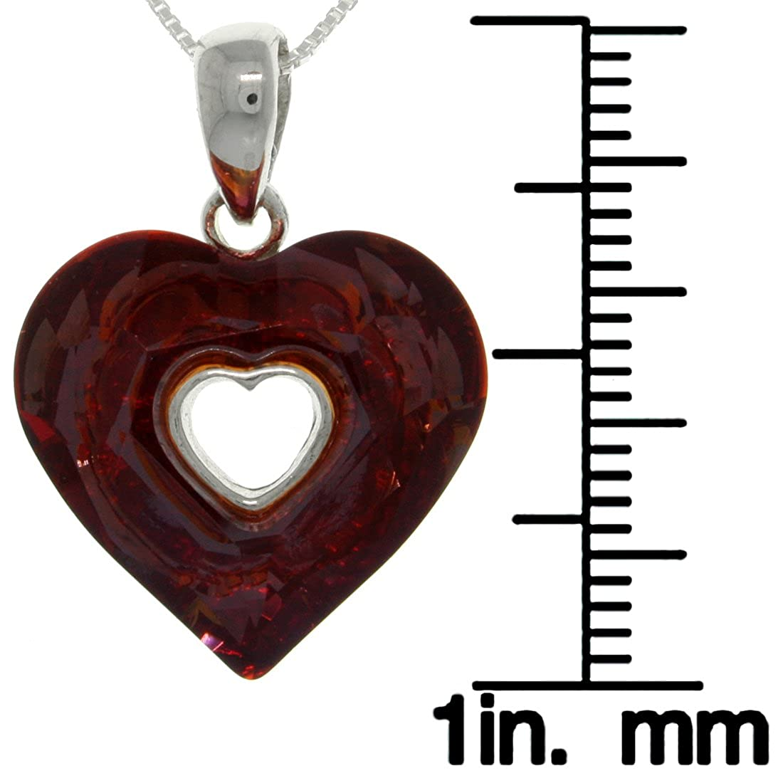 Jewelry Trends Sterling Silver Red Glass Heart Pendant Necklace