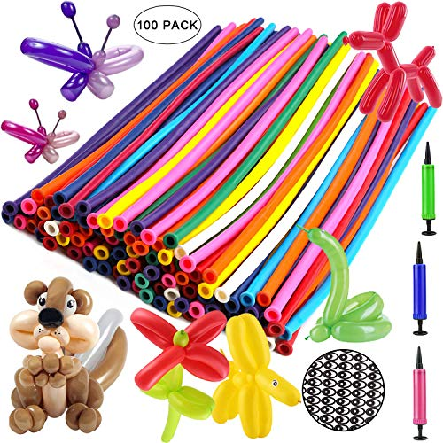 OOTSR Balloon Animals Kit Twisting Balloons (100pcs) with Unbreakable Air Pump 260Q Latex Long Balloons for Animal Shape Party, Birthday, Clowns, Wedding Decorations w/Eye Stickers and Hand Pump
