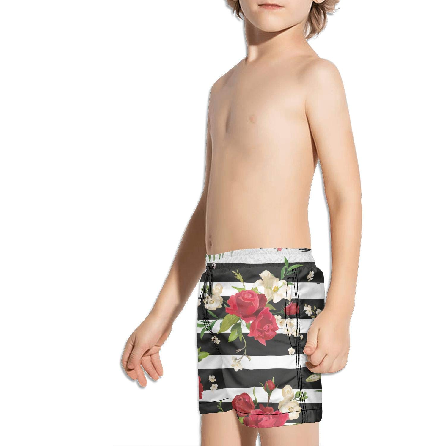 Ouxioaz Boys Swim Trunk Green Wild Lily Flower Beach Board Shorts