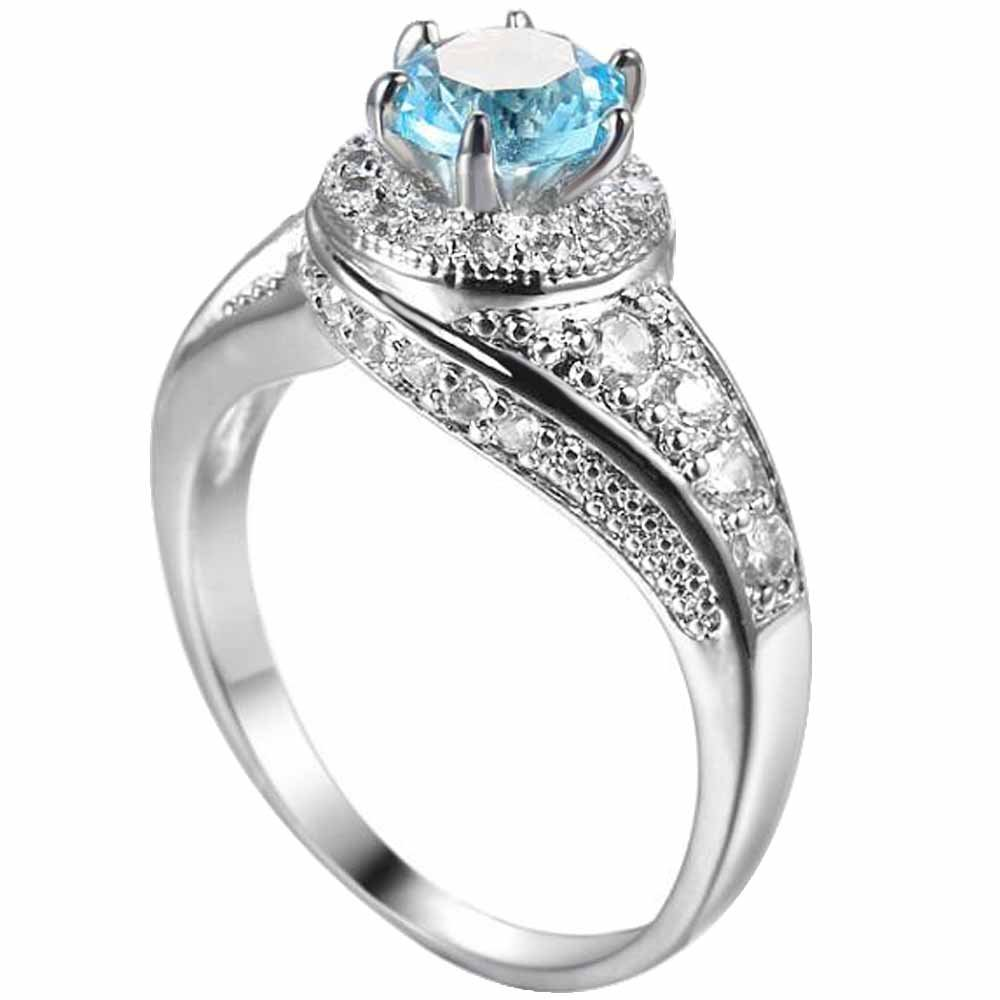 XAHH Women 18K White Gold Aquamarine Blue CZ Crystal Promise Ring Anniversary Engagement Wedding Band for Lady Girl Size 6