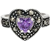Ornami Silver Marquesite and Amethyst Heart Ring
