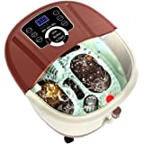 Anfan Foot Spa Massager with Motorized Tai Ji Massage -16 Pedicure Spa Motorized Shiatsu Roller Massaging Acupuncture Point, 4 Pro-Set Program (Brown)