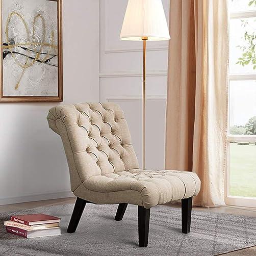 Armless Accent Chair Button Tufted Slipper Chair Side Chair