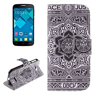 Flower Pattern Case Cover Funda con tapa Holder & Card Slot & Wallet para Alcatel One Touch Pop C7.
