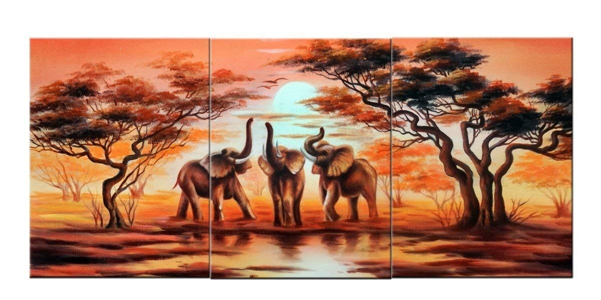 3 Panel Canvas Wall Art-African Elephants great in the living room