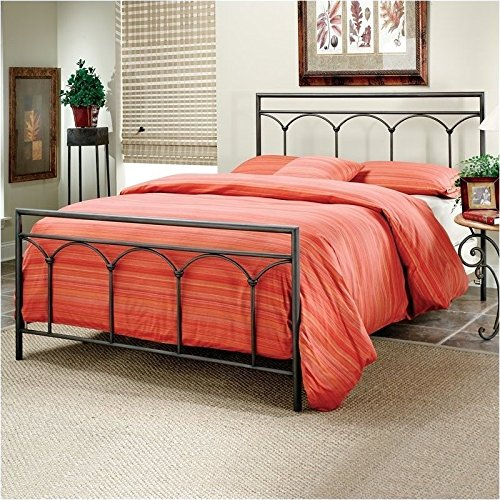 1092BKR McKenzie Bed Set with Rails, King, Brown Steel (Mckenzie Metal)