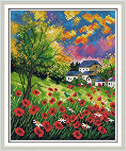 Full Range of Embroidery Starter Kits Stamped Cross Stitch Kits Beginners for DIY Embroidery (Multiple Pattern Designs)-Beautiful Flowers
