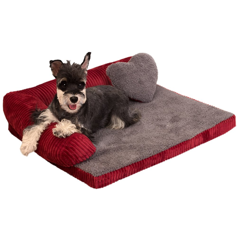 LDFN Dog Pillow Bed Removable And Washable Four Seasons General Large Medium Small Size Dog Mattress Sofa Cushions,Red-XL by LDFN (Image #2)