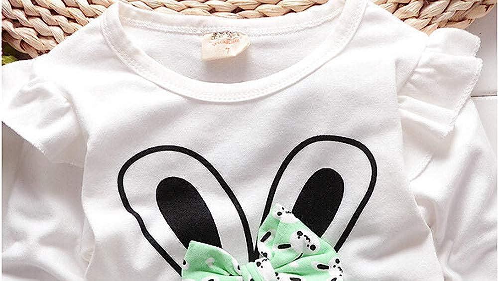 Camisas de Dibujos Animados Bunny Bebita Tops Blusa Camisetas Deporte beb/é ni/ña y Pantalones 2Pcs Conjunto de Ropa Ropa Beb/é Reci/én Nacido