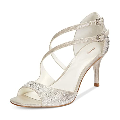 XYD Wedding Rhinestone Mid Heel Shoes Glitter Open Toe Dress Shoes  Sparkling Strappy Sandals for Women 37c4d1b6d