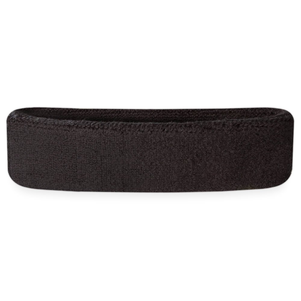 Suddora Head Sweatbands - Athletic Cotton Terry Cloth Headbands for Sports (Black)