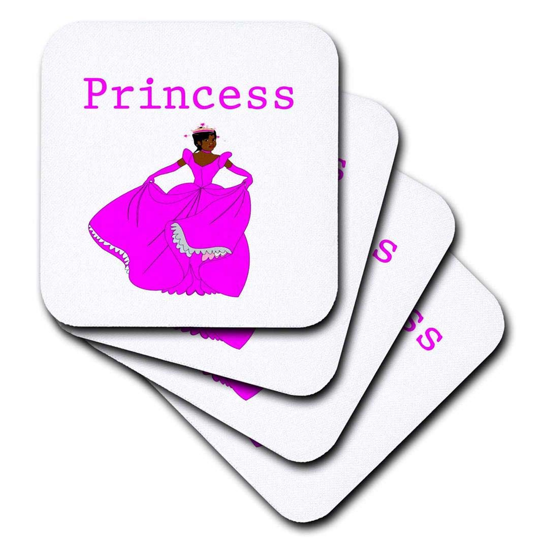3dRose CST/_204144/_1 Print of African American Princess Soft Coasters Set of 4