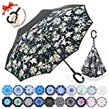 ZOMAKE Double Layer Inverted Umbrellas for Women, Reverse Folding Umbrella Windproof UV Protection Big Straight Umbrella for Car Rain Outdoor With C-Shaped Handle (Lilies)