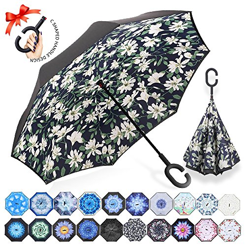 Cheap ZOMAKE Double Layer Inverted Umbrellas for Women, Reverse Folding Umbrella Windproof UV Protection Big Straight Umbrella for Car Rain Outdoor With C-Shaped Handle (Lilies)