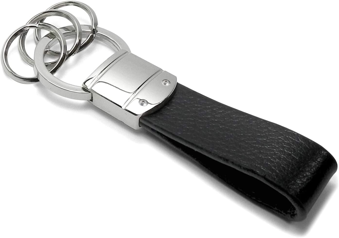 Dodge Challenger R//T Classic Genuine Black Leather Strap Loop Key Chain iPick Image for
