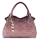 Tote Handbag Womens Shoulder Bag Casual Signature Printing Pu Leather and Designer Lady Purses (Pink)