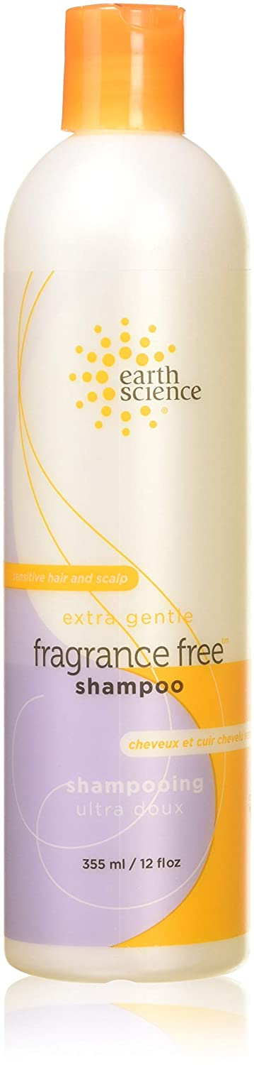 Earth Science Fragrance Free Shampoo with mild coconut-based cleansers for sensitive scalp & hair — 12 oz.