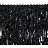 Expo International 20-Yard Metallic Chainette Fringe Trim, 6-Inch, Black