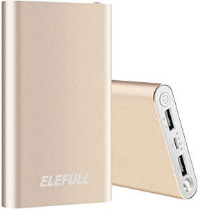 Power Bank 10000mAh with Flashliight Safe Metal Case Small Size Portable Charger Quick Charge Smart Phone iPhone iPad Samsung Galaxy LG (Gold)