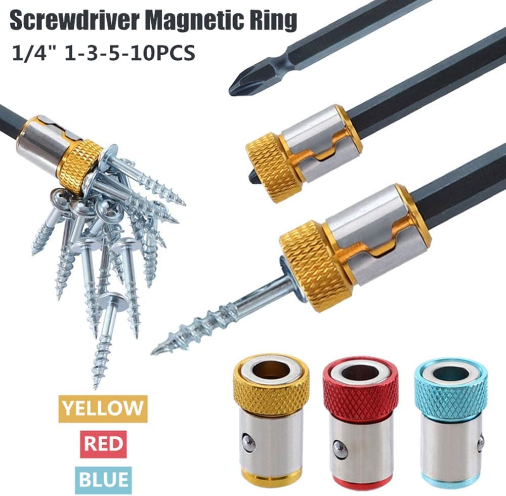 FANZHOU 1//4 6.35mm Screwdriver Bits Magnetic Ring,Magnetic bit Holder Magnet Driver Metal Strong Magnetizer Screw for Hex Shank Electric Screwdrive