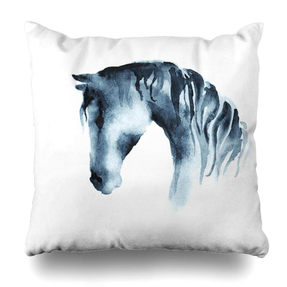 Ahawoso Throw Pillow Cover Square 16x16 Inches Paper Pet Champion Wet Paint Japanese Watercolor Horse Head Animals Wildlife Beauty Fashion Prize Decorative Pillowcase Home Decor Cushion Pillow Case