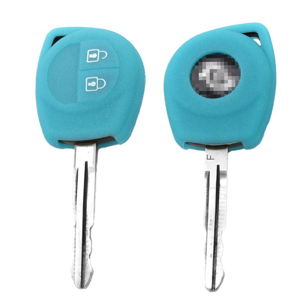 SpringPear/® Bleu Prot/éger Housse pour Voiture Suzuki Jimny 2 Boutons Cl/é Coque en Silicone de Protection