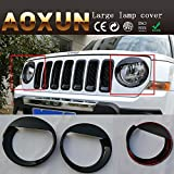 Front Light Headlight Angry Bird Style Trim Cover Bezels ABS For Jeep Patriot 2011-2015 Model Set of One Pair