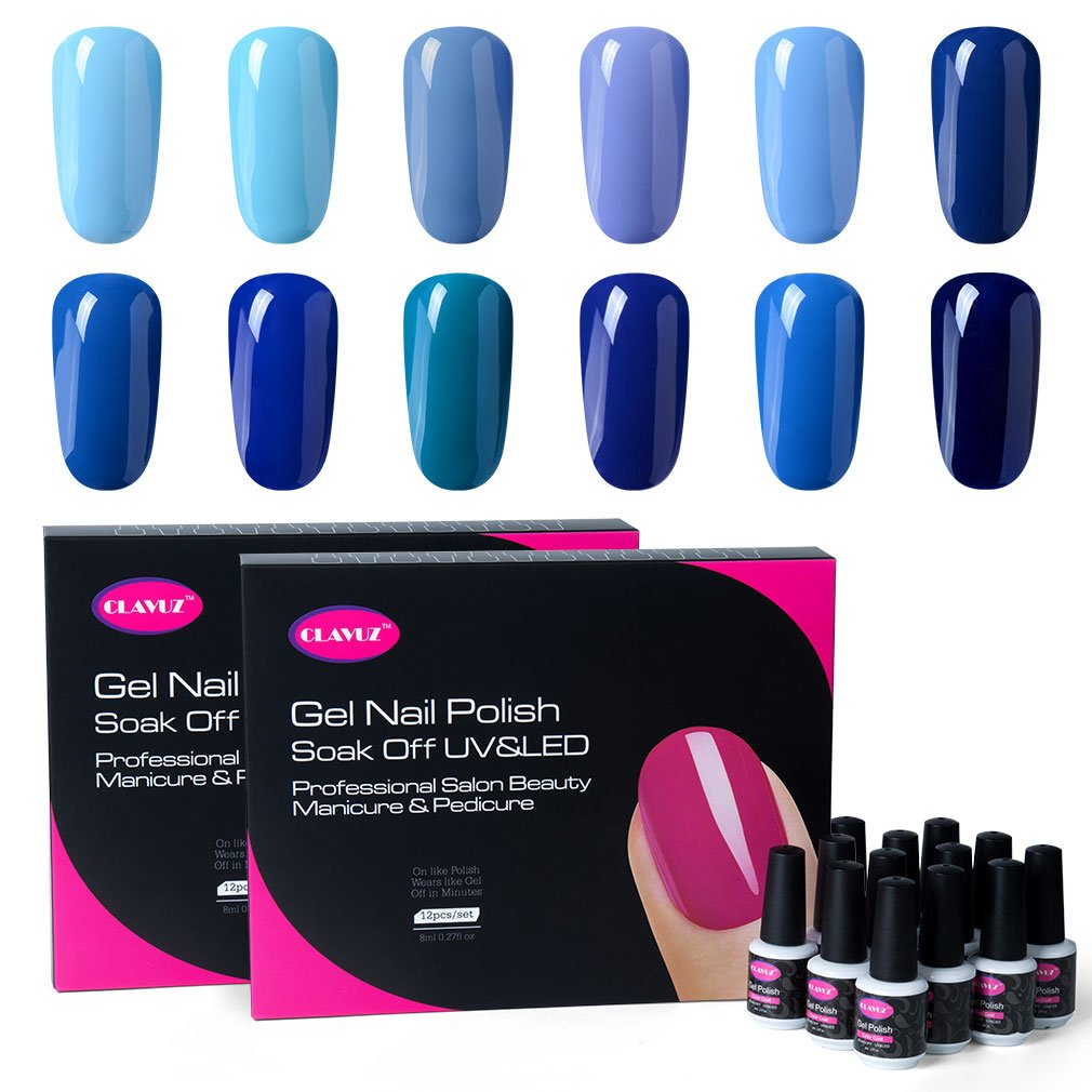 Amazon.com : CLAVUZ Gel Polish Kit 12pcs Soak Off Blue Nail Polish ...