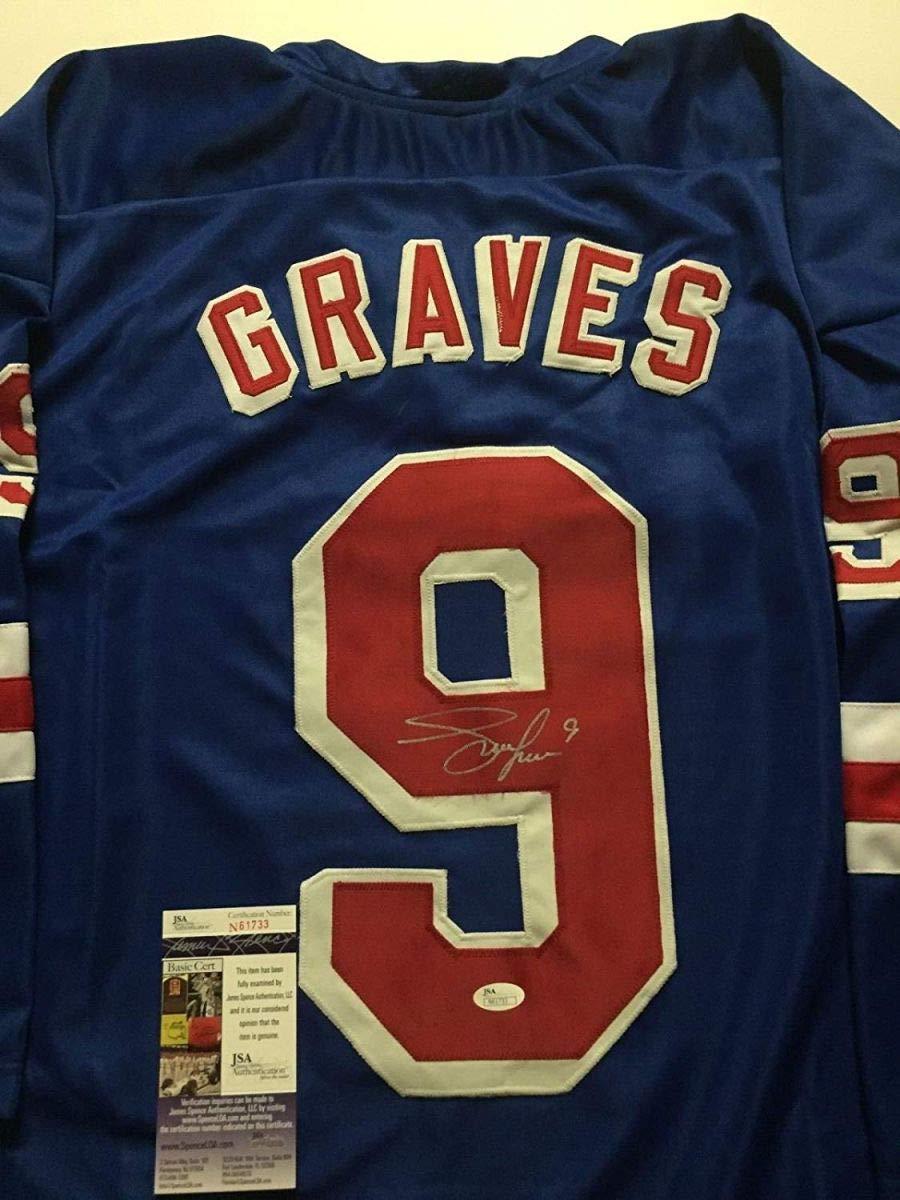 Autographed/Signed Adam Graves New York Blue Hockey Jersey JSA COA
