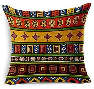 Bohemia stripe Cotton Linen Throw Pillow Case Cushion Cover Home Sofa Decorative 18 X 18 Inch (4)