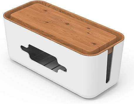 Caja para organizar cables para almacenamiento de cable de extensión, gestión y organización de cable y escritorio transparente - Textura de madera: Amazon.es: Bricolaje y herramientas