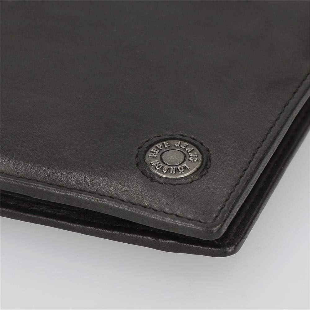 8.5 cm x 10.5 cm x 1 cm Cartera Pepe Jeans Button Vertical Negra