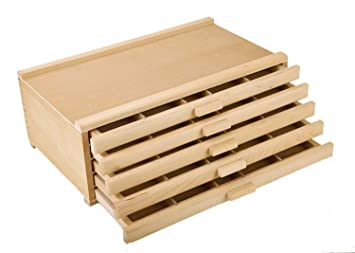 Vencer 5 Drawer Wood Art Storage Box For Pencil Pen Pastel Marker Set Vao 003