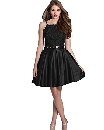 9c69775ca7 Lily Wedding Juniors Halter 2 Piece Homecoming Dress 2019 Short Sleeveless  Lace Satin Prom Dress Black