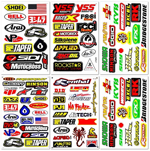 Motocross Dirt Bike Bikes Race Motorcycle motos rc Bicycle Trucks Parts Accessories Sponsor Logo ATV Skateboard Helmet Tool Box Racing Pack 6 Sheets Grafitti Vinyl Decals Stickers Kit D6721 Best4Buy