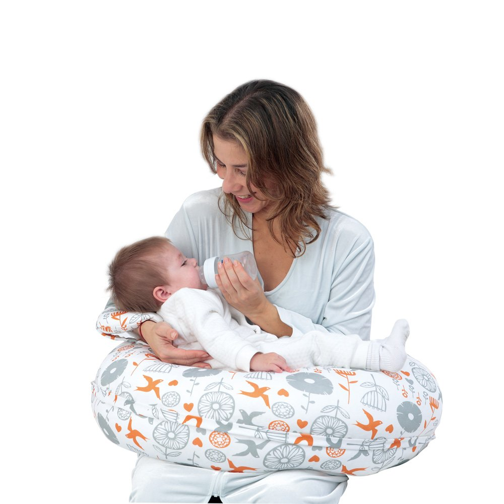 i-baby 4 in 1 Cotton Knitted Cover Breast Feeding Pillow Nursing Pillow Maternity Pregnancy Support Pillow Multi-Functional Baby Cushion (Birds) by i-baby