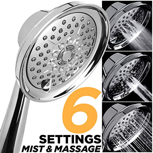 5 Inch 6 Setting High-Pressure Mist-Spray & Massage Handshower, Best Multi-Function Hand Shower-Head, Luxury Chrome Bathroom Finish, 2.5 GPM Flow Rate (HANDHELD-SHOWERHEAD ONLY WITHOUT HOSE & BRACKET)