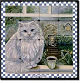 Lady Latte by Carolyn Paterson - Coffee Cat Tumbled Marble Tile Mural 16'' x 16'' Kitchen Shower Backsplash