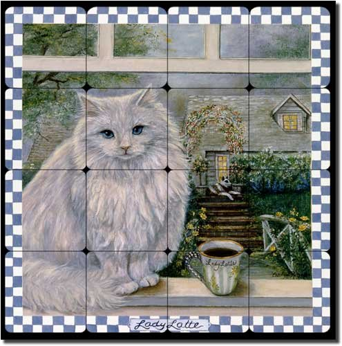Lady Latte by Carolyn Paterson - Coffee Cat Tumbled Marble Tile Mural 16'' x 16'' Kitchen Shower Backsplash by Artwork On Tile