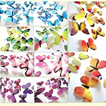 60 x PCS 3D Colorful Butterfly Wall Stickers DIY Art Decor Crafts For Nursery Room Classroom Offices Kids Bedroom Bathroom Living Room