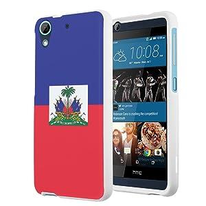 HTC Desire 626s Case, HTC Desire 626 Case, Capsule-Case Slim Fit Snap-on White Hard Case for HTC Desire 626s / HTC Desire 626 - (Haiti Flag)