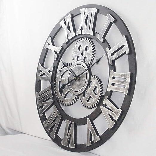 Amazon.com: Vintage Industrial LOFT Cafe Bar Bedroom Gear Wooden Mute Wall Clock, Villa Living Room 3D Numerals Wall Clock (Size : 20inch): Home & Kitchen