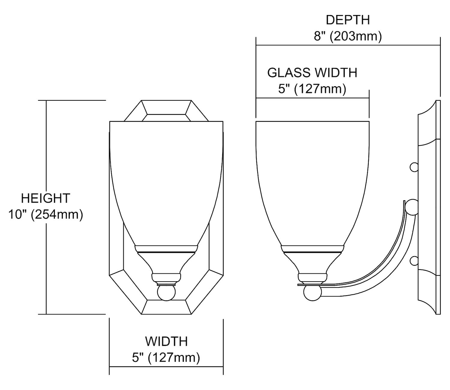 Bath and Spa 1 Light Vanity in Satin Nickel and Espresso Glass